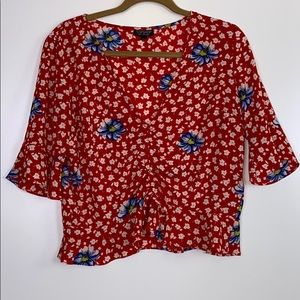 Topshop I Floral Crop W/ Ruffle Sleeves Size 10